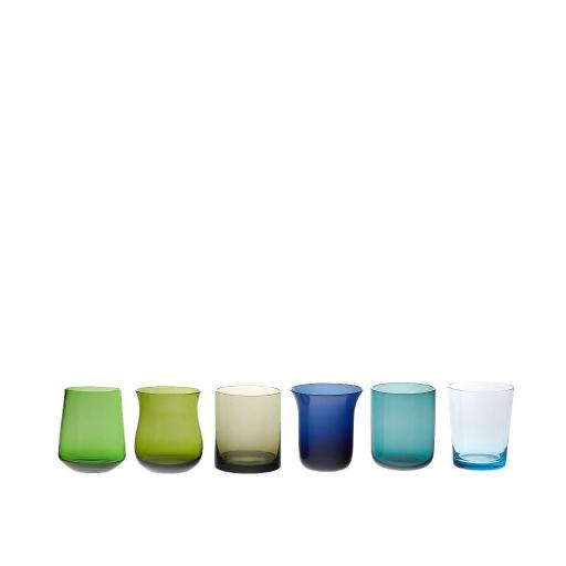 Set 6 Tumbler Forme Assortite blu/verde - Diseguale