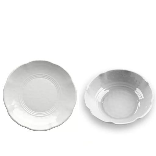 Piatto Fondo 6 pz - York Bianco in melamina